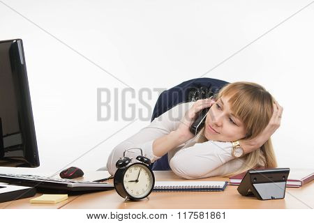 Not Enough Sleep Office Employee At His Desk Answers The Phone