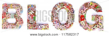 the word BLOG made up of lots of small wooden letters