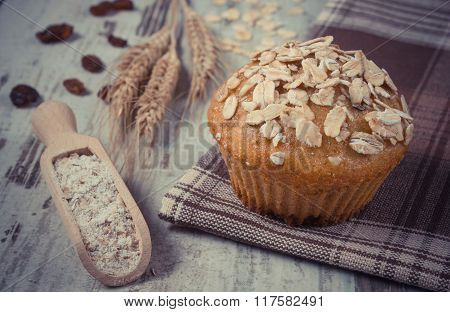 Vintage Photo, Fresh Muffin With Oatmeal, Rye Flour And Ears Of Rye Grain, Delicious Healthy Dessert