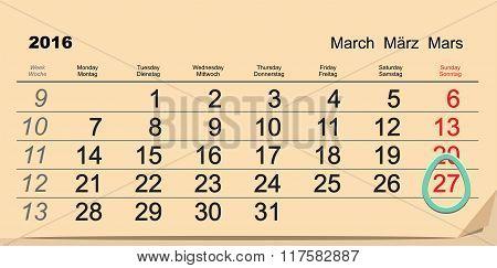March 27, 2016 Catholic Easter. Easter egg Calendar