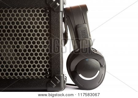 Amplifier And Headphones On White Background