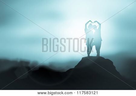 Silhouette In Love  On The Sunset Background