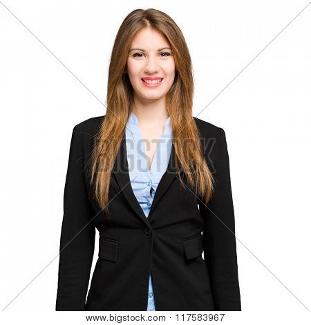 Young businesswoman portrait isolated on white