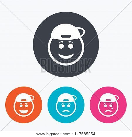 Rapper smile face icons. Happy, sad, cry.