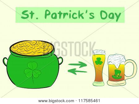Beer and Saint Patrick's gold