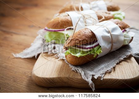 Baguette with ham and cheese
