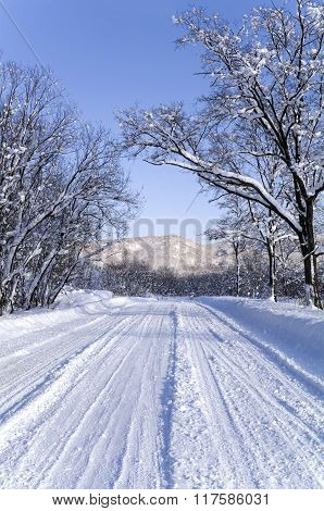 Winter snow road