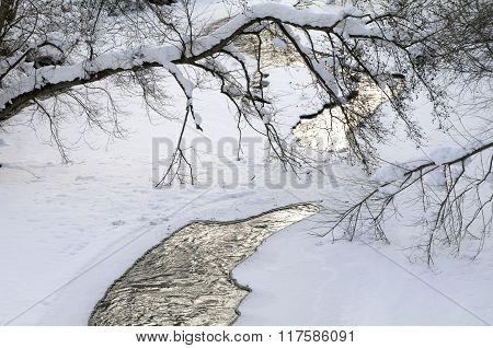 freezed small river