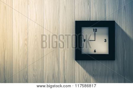 Black Clock Hanging On The Wood Wall