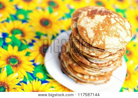 High Stack Of Pancakes . Breakfast For The Whole Family .
