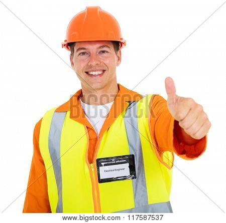 cheerful young electrician thumb up