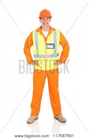 portrait of happy male electrical worker on white background