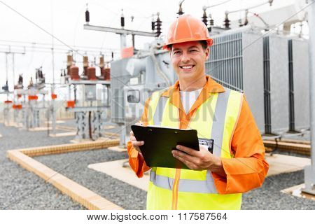 electrical worker working in power plant