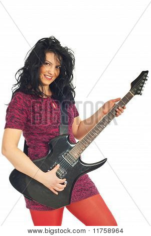Beautiful Woman Playing Guitar