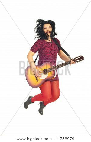 Jumping Guitarist Woman