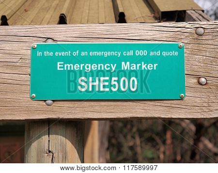 Emergency Position Marker In A Park