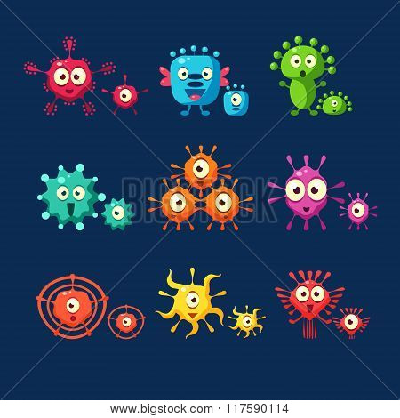 Cute Germ. Set, Bacteria, Virus, Microbe, Pathogen