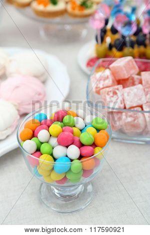 Set of cold snacks, canape and dessert, closeup