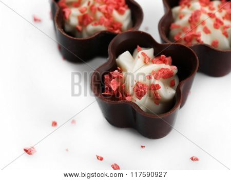 Assorted chocolate candies, close up