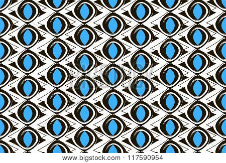 Black and white pattern with blue ovals