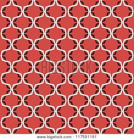 Black and white abstract pattern on a red background