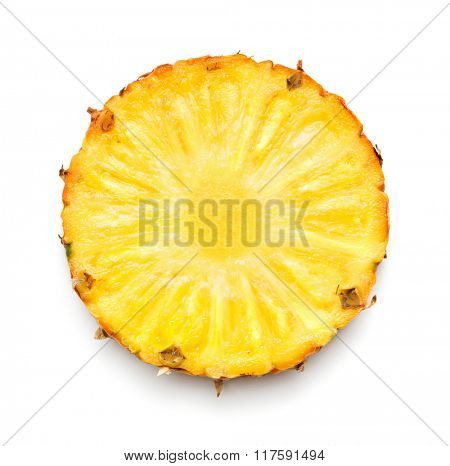 Pineapple slice isolated on white background