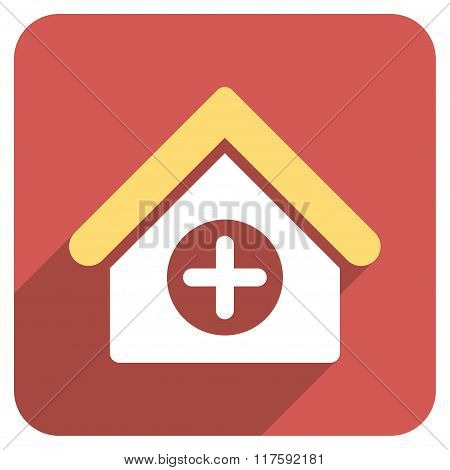 Hospital Flat Rounded Square Icon with Long Shadow