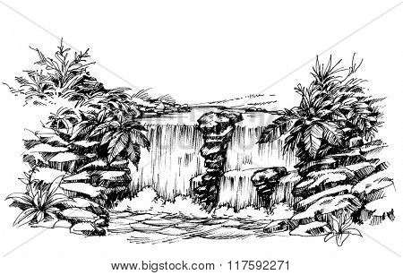 Waterfall drawing, flowing river sketch