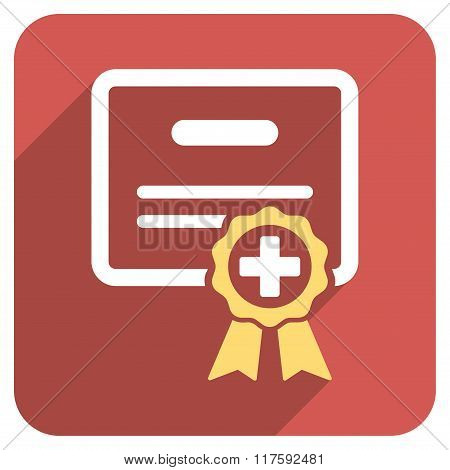 Medical Certificate Flat Rounded Square Icon with Long Shadow