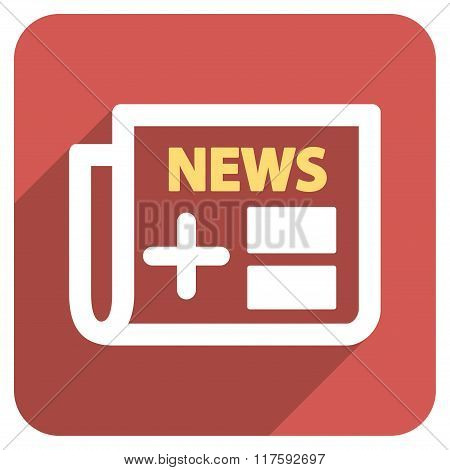 Medical Newspaper Flat Rounded Square Icon with Long Shadow