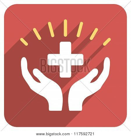 Medical Prosperity Flat Rounded Square Icon with Long Shadow