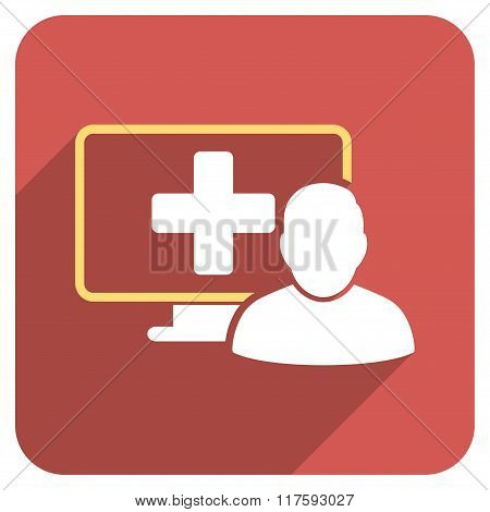 Online Medicine Flat Rounded Square Icon with Long Shadow