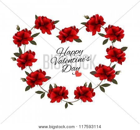 Valentine's Day background with a bouquet of red roses. Vector.