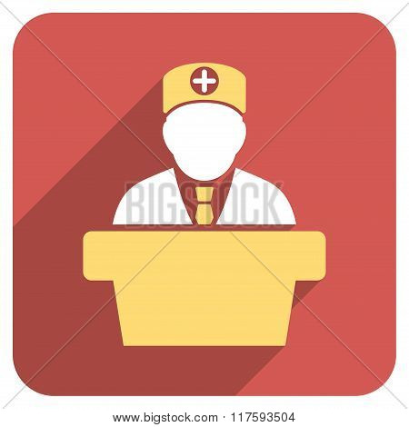 Medical Official Lecture Flat Rounded Square Icon with Long Shadow