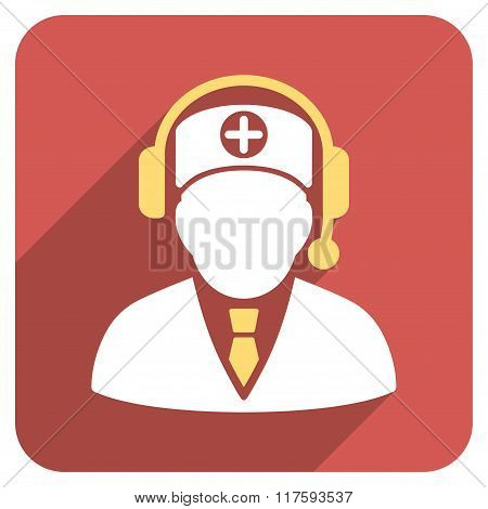 Medical Operator Flat Rounded Square Icon with Long Shadow