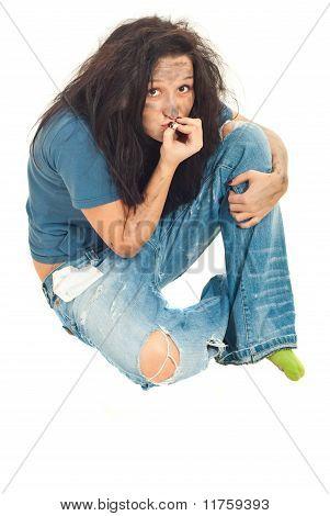 Beggar Female Smoke Cigarette Butt