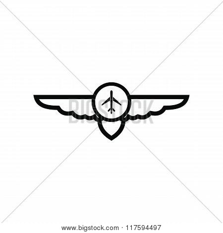 Sign of airplane with wings icon