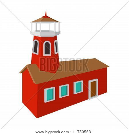 Fire station with red high tower cartoon icon