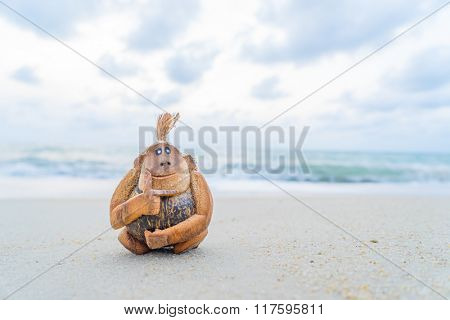 Coconut monkey on the beach in THailand