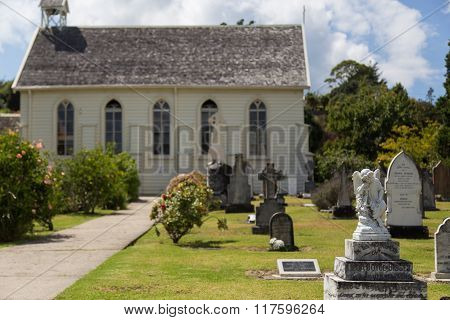 Church and graveyard in Russell, New Zealand
