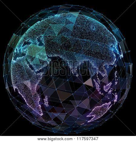 Global network internet technologies. Digital world map