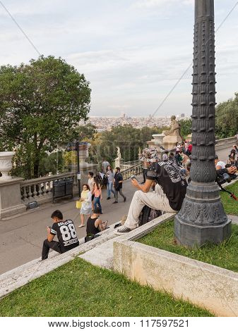 People Walk And Relax On The Hill Of Montjuïc