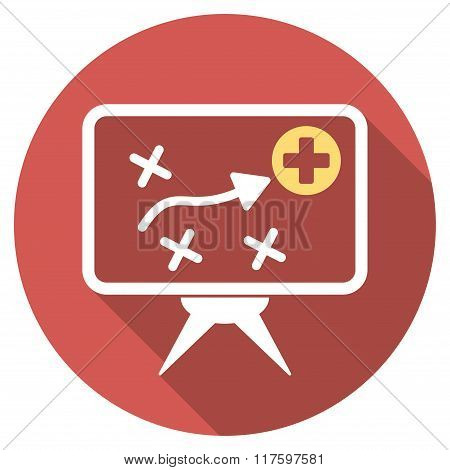 Health Strategy Screen Flat Round Icon with Long Shadow