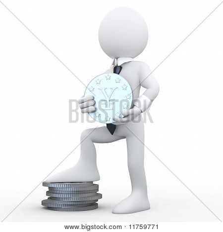 3D man holding a coin with the symbol of the yen and the feet resting on a pile of coins
