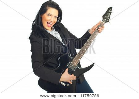 Cheerful Busineswoman With Guitar