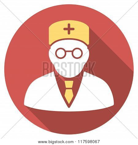Main Physician Flat Round Icon with Long Shadow