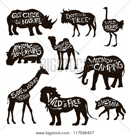 Wild Animals Lettering Black Icons Set