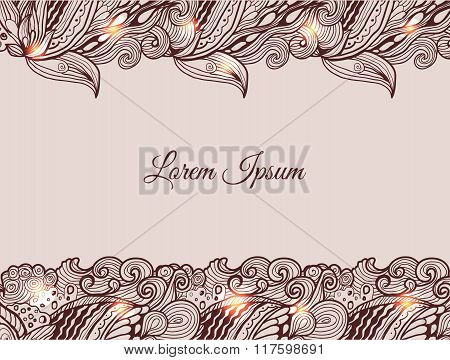 Graphic background with doodle ornament