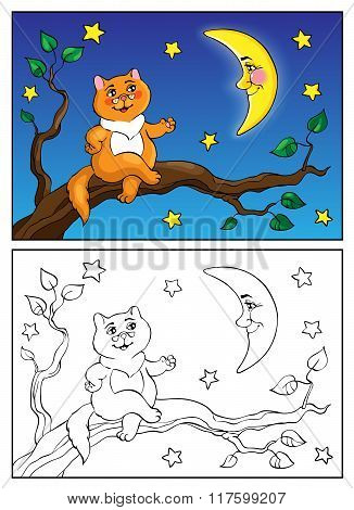 Coloring Book. Red Cat Lies On A Branch And Talking To The Moon. Vector Illustration.
