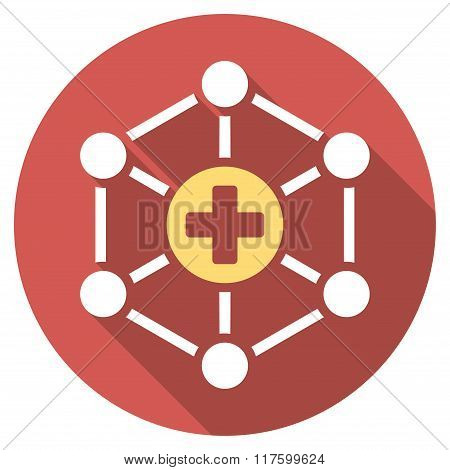 Medical Network Flat Round Icon with Long Shadow
